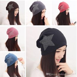 Wholesale Polyester Pile - 2017 New style women Turban Five star water drill decoration beanie Hat Cotton lover's Set head cap Lady of leisure Pile of pile cap