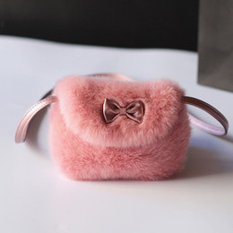 Wholesale Cute Messenger Shoulder Purse - Wholesale- 2017 New Cute Children Princess Girl Kids Mini Crossbody Bag Fashion Bowknot Imitation Fur Shoulder Messenger Bag Purse S5068
