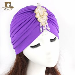 Wholesale Headbands Dark Brown Hair - 2016 new Turbante Headwrap with the beaded pendant women Turbante Indian Turban Hat Headband Wrap Cap Bandana Hair Accessories