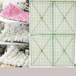 Wholesale Plastic Wedding Flowers - 25*25CM Green Plastic Flower Row Foldable Flowers Bent Sub Rack Wall Arches For Wedding Decoration Supplies 2 9xh B R