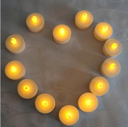 Wholesale Tea Light Battery Candles New - Flicker Tea Candles Light New LED Flameless Tealight Battery Operated for Wedding Birthday Party Christmas Decor CCA7549 300pcs
