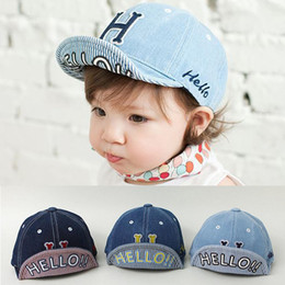 Wholesale Wholesale Denim Hats - Spring Summer kids cowboy embroidery ball cap baby turning brim soft hat baby baseball cap infants denim cotton cloth girls boys baby hat
