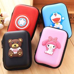 Wholesale Choice Fashion Case - Cheap cartoon figure square Zipper Bag Portable Zero wallet Headphone Bag Carrying Pouch Pocket Case Cover Storage 18 STYLES CHOICE