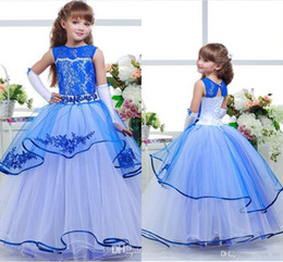 Wholesale Dres For Kids - Blue Flower Girls Dresses For Weddings Lace Appliques Jewel Kids Birthday Wear Communion Dress Layers Back Hollow Lace Up Girl Pageant Dres