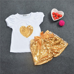 Wholesale Gold Metallic Shorts - Kids Cute Girl's Short Sleeve T-shirt Gold Sequins Shorts Pants Outfits Bling bling 110 cm-140 cm