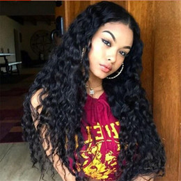 Wholesale human lace wig 28 inch - 8A Brazilian Deep Wave Wigs Full Lace Human Hair Wigs With Naural Hairline Glueless Lace Front Hair Wigs 10-28 Inches