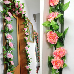Wholesale Hanging Wedding Decoration - 240cm Fake Silk Roses Ivy Vine Artificial Flowers with Green Leaves For Home Wedding Decoration Hanging Garland Decor
