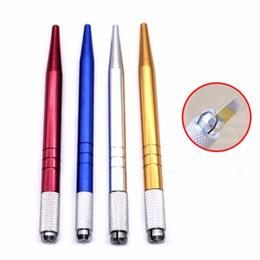 Agujas de aluminio online-Aluminio Microblading Pen Lightweight Manual Microblade Aguja titular Caneta Tebori Microblading Eyebrow Tattoo Pen envío gratis