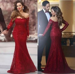 Wholesale Full Size Evening Gowns - Elegant Off Shoulder Full Lace Prom Dresses 2017 Fall With Long Sleeves Illusion Plus Size Evening Gowns Arabic Party Dress