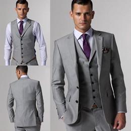 Wholesale Three Button Suit Sale - 2018 Hot Sale Groom Tuxedos Groomsmen Light Grey Slim Fit Two Buttons Wedding Suit Bridegroom (Jacket+Pants+Vest)