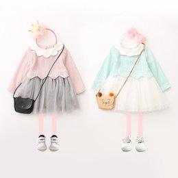 Wholesale Pink Doll Dresses - Children princess dress girls knitting falbala doll lapel dress kids splicing lace mesh gauze dress Autumn girls fashion clothes C1211