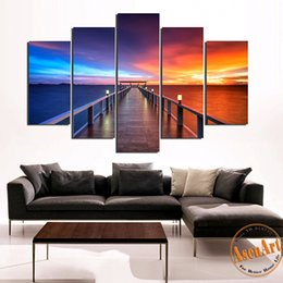 Wholesale Modern Wall Prints - 5 Pieces Modern Wall Art Canvas Printed Painting Walkway and Ocean Sunset Seascape Picture for Living Room Wall Decor Frameless