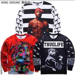 Wholesale Leather Men Sweaters Black - NEW !!! 1991 inc tupac shirt leather sleeve sweater men crewneck 2pac graphic sweatshirts biggie tupac Wiz Khalifa