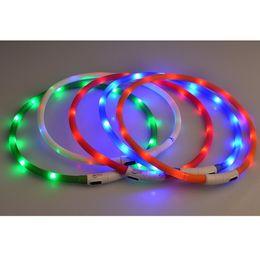 Wholesale Dog Flash Light - flashing led pet collar USB Charge Dog Collar LED Outdoor Luminous charger Pet Dog Collars light Adjustable LED flashing dog collar