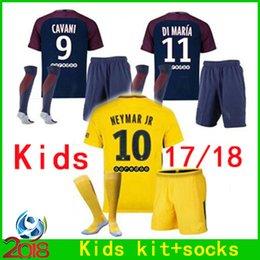 Wholesale France Soccer Kit - Kids Kit 10 Neymar jr 2017 2018 France Paris Childrens soccer jersey+socks 17 18 Boys maillots Di Maria PASTORE VERRATTI football shirt set