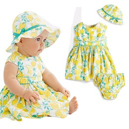 Wholesale Tropical Style Dresses - PrettyBaby 2016 summer baby girls lemon dress hat+dress+small shorts tropical fruit printed short sleeves baby clothing free shipping