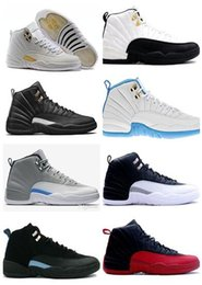 Wholesale Baron Plush - Wholesale 2017 Men Women basketball shoes air retro 12 TAXI ovo white Flu Game gamma blue Playoffs French Blue gym red Barons sneaker
