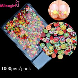 Wholesale Tiny Diy Accessories - Wholesale- Mileegirl 1000pcs Pack 3D Fimo Nail Art Decorations,Fruit Flowers Feather Design Tiny Polymer Clay DIY Accessories Nail Sticker