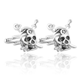 Wholesale Shirts Cufflinks - Pirates of the Caribbean jewelry Skull Cufflinks Silver Cufflinks of French shirt cuff links father's best chrismas gift