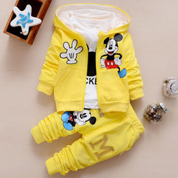 Wholesale Long Red Costume Coat - Mickey Suit For Boy Girl Baby Clothes Autumn Winter Minnie Mouse 3 Piece Set Hooded Coat Jacket+T Shirt+Trouser Pant Tracksuit Costume