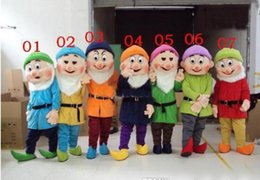 Wholesale Dwarf Mascot Costume Cartoon - EMS free shipping Cartoon character Seven Dwarfs Mascot costume Adult size ( 7pcs  lot)