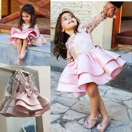 Wholesale Tires Tulle Dresses - Pink Knee Length Flower Girl Dress Golden Applique Logn Sleeves Tired Satin Girls Pageant Gowns Girls First Communication Dresses with Bow