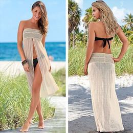Wholesale Tube Dress Beach - Sexy Bikini Cover Ups Lycra Mesh Extendable Beach Dresses Beige Free Size Tube Womens Beach Cover Ups