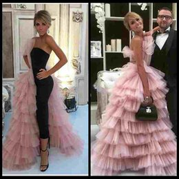 Wholesale Layered Evening Gowns Plus Size - Gorgeous Pink Tulle Layered Ruffles A Line Evening Dresses 2018 Floor Length Formal Celebrity Party Guest Prom Gowns