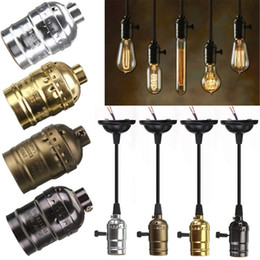 Wholesale Vintage Light Bulb Holder - Big Promotion E27 Edison Vintage Retro Lamp Base Holder Pendant Bulb Light Screw Socket 4 Colors With Switch No Switch 110V-220V