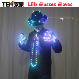 Wholesale Ballroom Dancing Accessories - LED Clothing Glowing Clothes Hat Fashion LED Gloves Talent Show Luminous Tie Suits Ballroom Mechanical Dance Dress Accessories