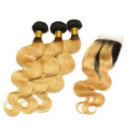 Wholesale Two Toned Lace Top Closure - Ombre Hair Extensions Two Tone 1B 27 Dark Root Ombre Peruvian Body Wave Human Hair Weave Bundles With 4x4''Lace Top Closure 4Pcs Lot
