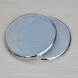 Wholesale waffle plates - Wholesale- 2PCS 3Inch Speakers Protactive Cover Silver Plating Car Audio Speaker Cover Tweeters Grille Waffle Mesk Grills