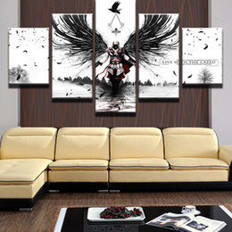 Wholesale Posters Games - 5 Panel Canvas Painting Modern Home Decoration Game Assassins Creed Poster Pictures For Kids Room Frameless
