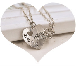 Wholesale Heart Shape Couple Necklace - HOT SALE New Best Friends friends necklace heart -shaped key pendant necklace couple necklace girlfriends FREE SHIPPING