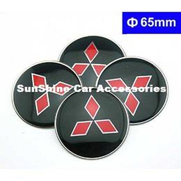 Wholesale Mitsubishi Front Emblem - 4pcs 65mm Black Car Styling Accessories Emblem Badge Sticker Wheel Hub Caps Centre Cover for MITSUBISHI LANCER Outlander