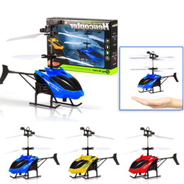 Wholesale Rc Toy Helicopter Usb - Wholesale- Flying Mini RC Infraed Induction Helicopter Aircraft Flashing Light Toys For Kid Dropship Y824