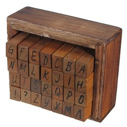 Wholesale Wood Writing Box - Wholesale-Best Promotion Capital Letter Alphabet Stamp Box Hand Writing Stamp Antique Wooden Rubber Stamp Box