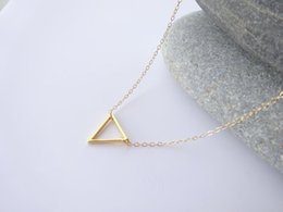 Wholesale Tiny Charm Wholesale - 10PCS- N135 Tiny Open Triangle Necklaces Chevron Triangle Outline Necklace Simple Geometric V Necklace for Women