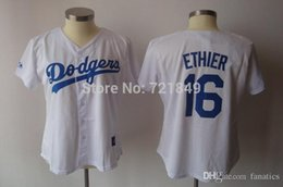 Wholesale Cheap Female Jerseys - Free Shipping Womens Baseball jersey Los Angeles LA Dodgers 16 Andre Ethier girls white ladies shirts female All sewn-on Cheap