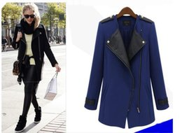 Wholesale Extra Long Coats Women - Wholesale-BK Extra large M-6XL WOOL JACKET Luxury Keep Warm Trench Coat Fashion Splicing Women's Casual Overcoat