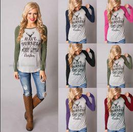 Wholesale Woman Santa Claus - Christmas T Shirts Elk Xmas Deer Shirts Women Tops Xmas Letter Striped Tees Casual Santa Claus Blouse Fashion Long Sleeve Shirts KKA2729