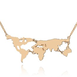 Wholesale pendants earth - 2016 New Arrival Globe World Map Pendant Necklace Personality Teacher Student Gifts Earth Jewelry Wholesale 161362