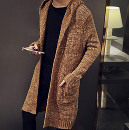 Wholesale Korean Couple Pullover - 2017 men in Korean knit cardigan long hooded sweater coat size thickening male couple men's sweater