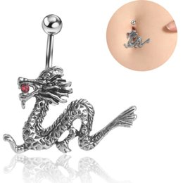 Wholesale Vintage Retro Ring Silver - wholesale retail Vintage retro Dragon body piercing belly button ring jewelry navel ring 14G 316L surgical steel bar Nickel-free