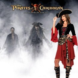 Wholesale Sexy Costumes Pirates - Halloween Costumes Captain Cosplay Sexy Outfit Dress For Women Pirate Adult Costume Waist Cincher Top Skirt party Uniform Outfits