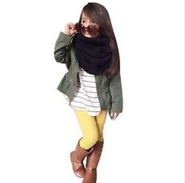 Wholesale Trench Down - Girls Clothing Set Outfit Long Sleeve Coat T Shirt Leggings 3 Pieces Suit Jacket Tops Stripe Fashion Army Green Kids Clothes Suits SV025134