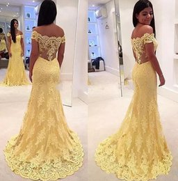 Wholesale Contemporary Pictures - Full lace Yellow Contemporary Mermaid prom Dresses Elegant Evening Formal Dresses off the Shoulder Lace vestidos Party Dresses