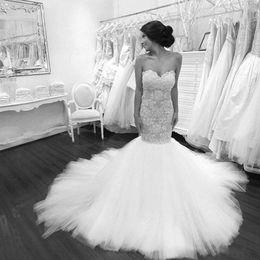 Wholesale Sexy Tight Wedding Dresses - Mermaid Wedding Dresses 2016 Sexy Tight Lace Bodice Sweetheart Buttons Back Sweep Train Puffy Skirt vestido de noiva princesa com renda