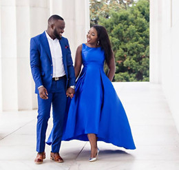 Wholesale Cheap Blue High Low Dresses - High Low Royal Blue Satin Prom Dresses Scoop A-Line Simple Cheap Prom Gowns Black Girls African Evening Dresses with Pockets