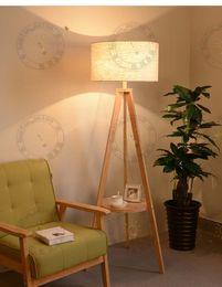 Wholesale Floor Shade - Wholesale-Modern Nordic style Triangle Wooden Floor Lamp Wood Color Fabric Shade Floor Light 1 E27 Light Bedroom Standard Light